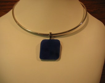 Midnight Blue Glass Pendant with Silver plated bail