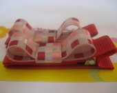 Red Checked Non Slip Hair Clips