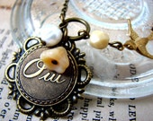 French Oui or Non Necklace - Love Word Charm Necklace - Yes or No Paris Necklace