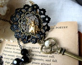 Steampunk Time Travel Long Key Necklace-OOAK Vintage Watch Movement Statement Jewelry