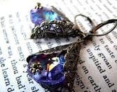 Amethyst Opera Chandelier Crystal Dangle Drop Earrings