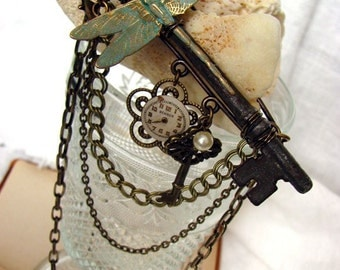 Enigma Dragonfly Steampunk Key Brooch Bib Necklace -Convertible Dragonfly Necklace