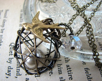 Nesting Wired Cage Necklace  - Birds Nest Pearl Pendant