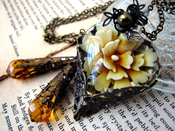 Glass of Heart Amber Tears Lariat