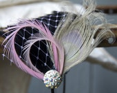 Black Feather Pad Headband with Pink Netting Pink Feathers Ivory Peacock Feather and Vintage Rhinestone Button