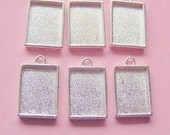 6 Rectangle Pendant or Earring Blanks Mini Link Single Loop Sterling Silver Plated (No. ND194)