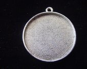 3 Extra Large Silver Plated Pewter Circle Pendant Tray (No. ND106) 1-1/4 Inch (32mm)