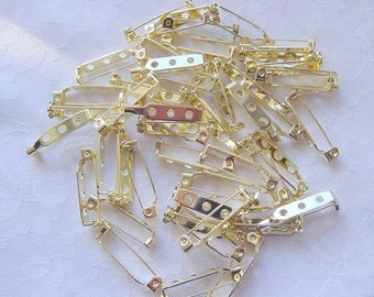 48 Pieces of Brass Plated Pin Backs 1 Inch (25mm)