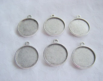 6 Pendant Trays Large Double Sided Round Silver Plate on Pewter (No. ND 101)