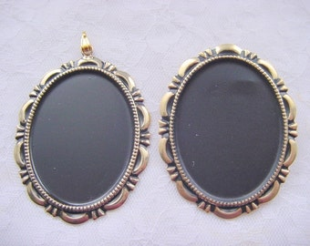 1 Antiqued Gold Brooch Back and 1 Matching  Antiqued Gold Pendant
