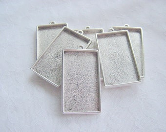 5   Pendant Blanks Extra Large Silver Plated Pewter Rectangle (No. ND108)