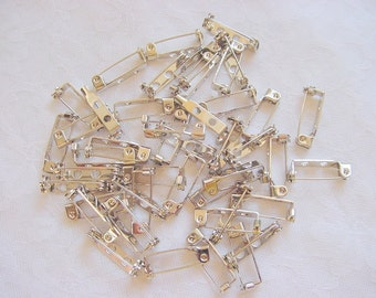 3/4 Inch Pin Backs 144 Pieces 1 Gross Nickel Plated  (19mm)