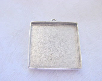 3 Square Pendant Blanks Trays Extra Large Silver Plated Pewter  (No. ND107)