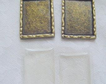 2 Pendant Blanks Rectangle  Frame Charm With Adhesive Covers  (No. 035)