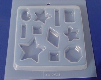 Stars and More Gem Shape Resin Deep Flex Jewelry Mold Featuring 11 Assorted Shapes and Sizes (409)