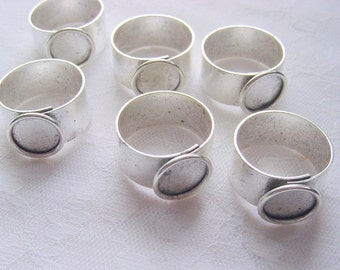 4 Ring Blank Small Circle Antique Silver Plated Adjustable Wide Band (No. ND150)