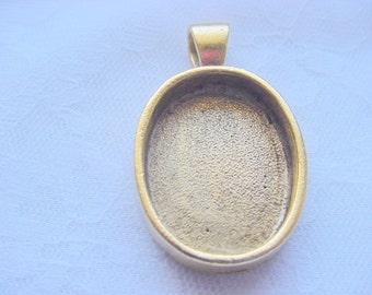 2 Oval Deep Well Gold Plated Pewter Pendant Blanks 1  x 3/4inch Made In The USA