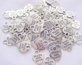 75 Pieces  Made With Love  Antique Silver Tag Charms