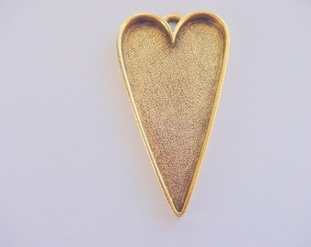 2 Heart Pendant Tray Blanks Extra Large Gold Plated Pewter Primitive  (No. ND 135) 1-1/8 x 2 Inches (27x50mm)