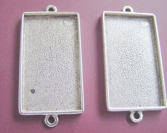 2 Extra Large  Rectangle Pendant Tray Silver Plated Pewter Double Loop (No. ND169)