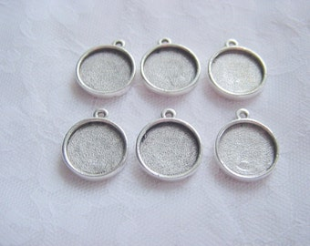 6 Antique Silver Plated Round Mini Link Single Loop Pendant or Earring Tray (No. ND145) 1/2 Inch Inner Dimensions (13mm)