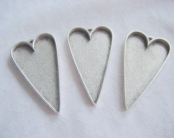 3 Heart Pendant Blanks Extra Large Silver Plated Pewter  Made In The USA ND109