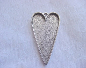 2 Heart Pendant Blanks Extra Large Silver Plated Pewter  Made In The USA ND109