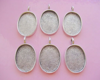 6 Large Oval Pendant Tray Blanks 3/4 x 1 Inch (19 x 25.4mm) (No. ND160) Made In The USA