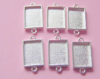 6 Pendant or Earring Blanks Sterling Silver Plated Rectangle Mini Link Double Loop (No. ND195)