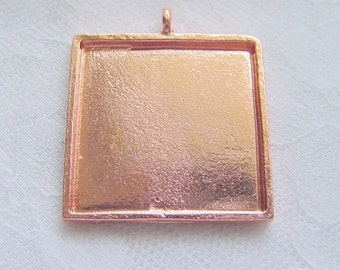 2 Square  Frame Charm Blanks Brite Copper With Clear Adhesive Covers .98 Inch  (25mm) (No. 046)