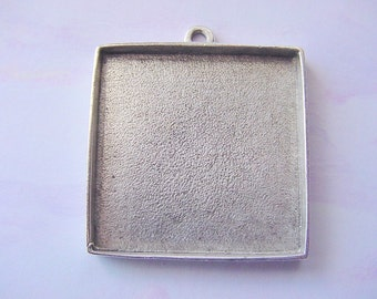 2 Pendant Blank Trays Double Sided Square Silver Plated Pewter   ND102 Made In The USA