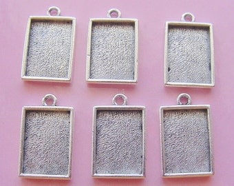 4 Pendant or Earring Tray Antique Silver Plated Rectangle Mini Link Single Loop Tray (No. ND191)