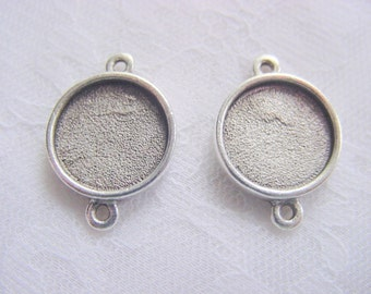 4 Pendant / Earring Blanks Antique Silver Plated Round Mini Link Double Loop  (No. ND151) 1/2 Inch (13mm)