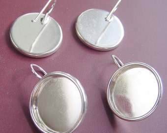 2 Pairs Large Circle Drop Earring Blanks  (No. ND170)