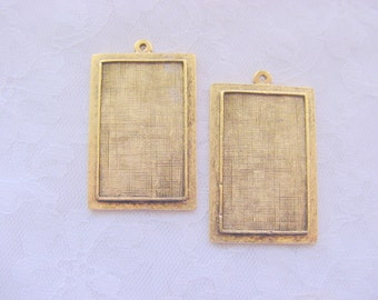 2 Pendant Blanks Raised  Rectangle Antique Gold Plated Pewter   (No. ND197) Made in the USA