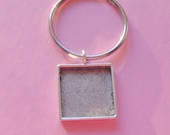 Key Ring Silver Square Jewelry Blank Silver Plated Pewter Made In The USA