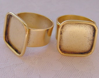 4 Ring Blanks Adjustable Wide Band Large Square Antiqued Gold Plated  ND211
