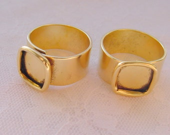 4 Ring Blanks Small Square Gold Plated Adjustable 3/8 Inch (10mm) (ND215) MADE In The USA