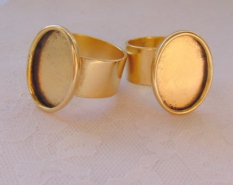 2 Oval  Ring Blanks  Wide Band Adjustable Antique Gold Plated  (No. ND209) Made In The USA