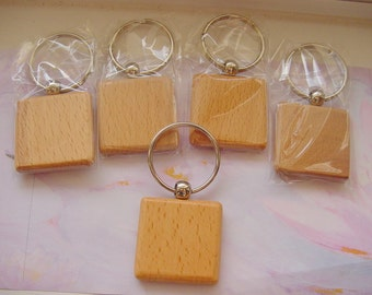 5 Wood Key Rings 1-1/2 Inches (3.5cm)
