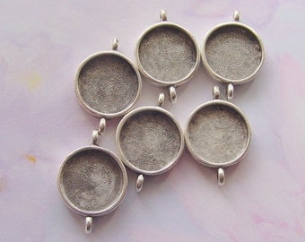 4 Pendant Blanks Small Circle Double Loop Silver Plated Pewter (No. ND200) Made in the USA