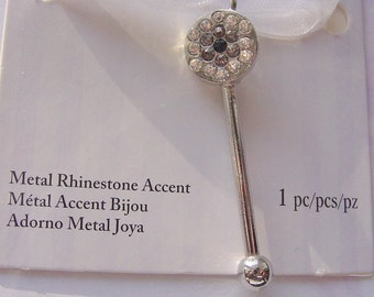 Silver Bead Pin With Rhinestone Accent