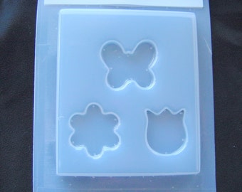 Resin or Polymer Clay Mold Butterfly and Flowers No 470