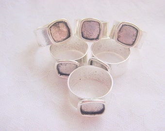 6 Pieces Small Square Antique Silver Plated Adjustable Ring Blank 3\/8 Inch (10mm) (No. ND144)
