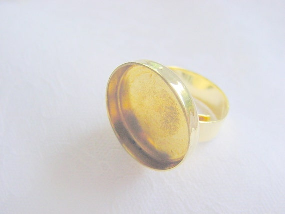 5 Pieces Adjustable Gold Brass Circle Ring Blank   (AI 234) Reserved for Meluchi