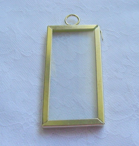 3  Rectangle Brass Frame With  Glass by Darice 1 x 2 Inch (044)