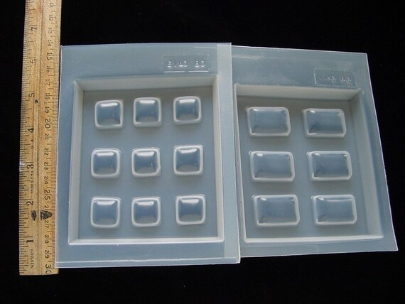 2 Deep Flex Resin Jewelry Molds Rectangle and Square  (411 413)