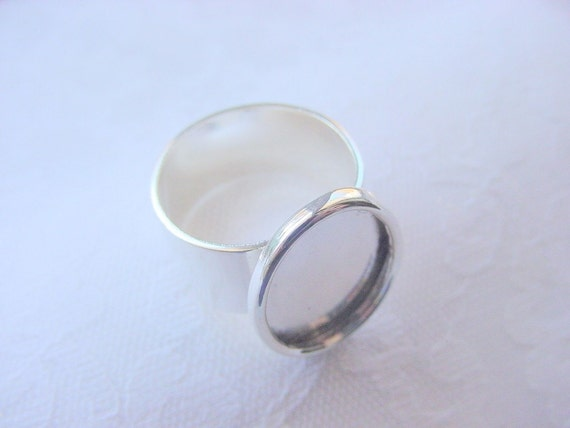 6 Oval Wide Band Adjustable Ring BlanksSterling Silver Plated (No. ND162) Made in The USA