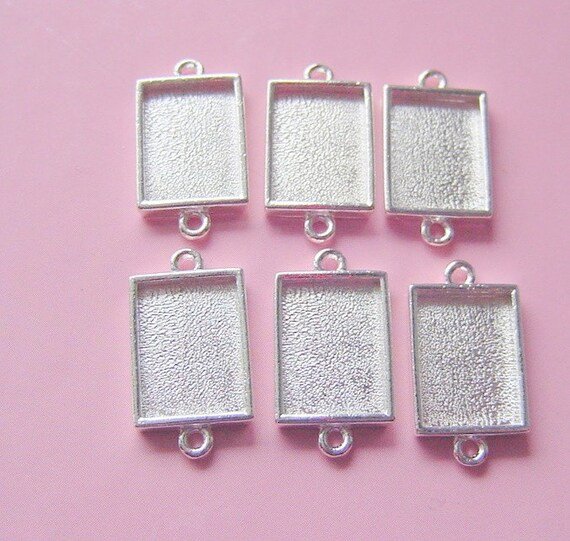 6 Pieces Sterling Silver Plated Rectangle Mini Link Double Loop Pendant or Earring Tray (No. ND195)
