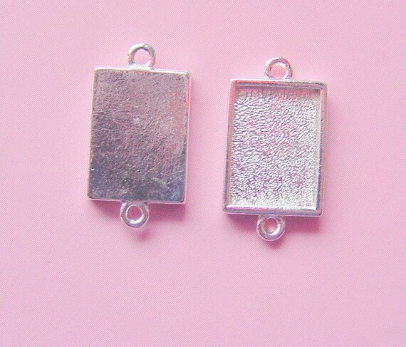 6 Pendant Or Earring Blanks Sterling Silver Plated